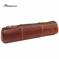 Vintage Long Wallet Genuine Leather Women Wallets Tool Coin Purse Female Multi Function Organizer Cosmetic Pen