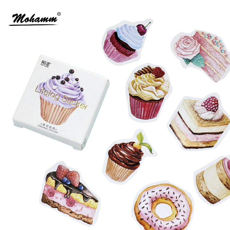 45Pcs/box Creative Dessert Cake Papers Stickers Flakes Vintage Romantic Love For Diary Decoration Diy Scrapbooking Sticker free shipping 2016 fashional design car air purifier car air fresheners car air humidifier dust collector