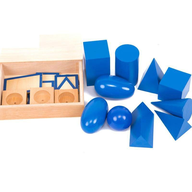 Montessori Infantile Jouets Montessori Solides Géométriques avec Base en bois Apprentissage Éducatif Jouets Juguetes Brinquedos YH1764H