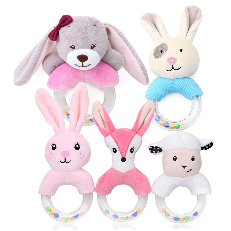 Cute Baby Rattle Toys Rabbit Plush Baby Cartoon Bed Toys for Newborn 0-24 Months Educational Toy Rabbit Bear Hand Bells(China)