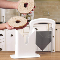 New Stainless Steel White Non Stick Bagel Cutter Guillotine Slicer Knife for Muffins, Buns, Rolls, Breads Pastry Tools