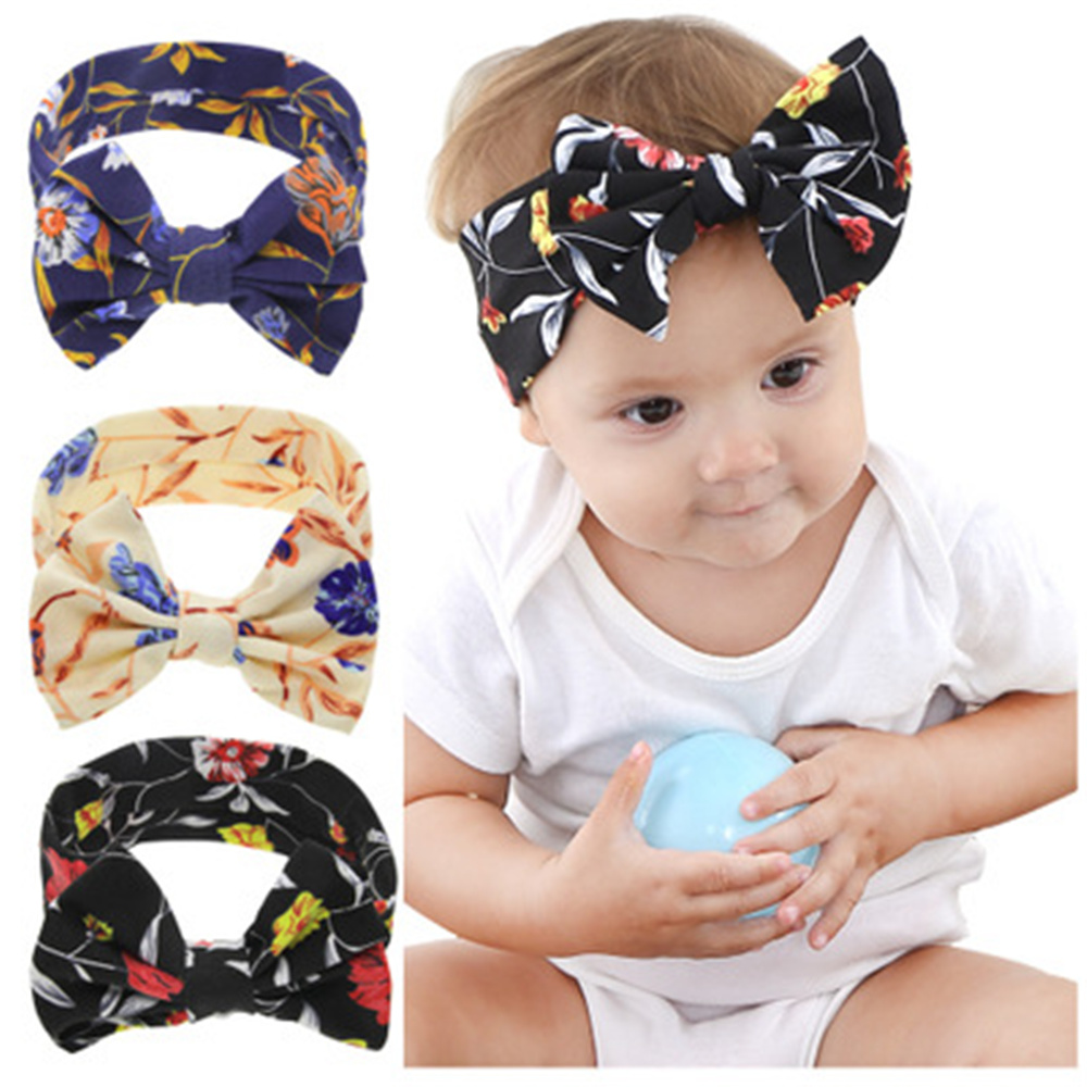 Baby Infant Toddler Newborn Girls Rabbit Bow Elastic Headband Hair Band Headwrap