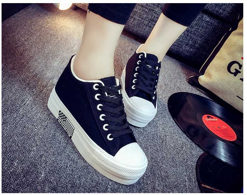 Hot Sale Women Shoes Thick Bottom Platform Non-slip Women Canvas Shoes Round Toe Mix Color Shoes For Women Drop Shipping S95 (15)
