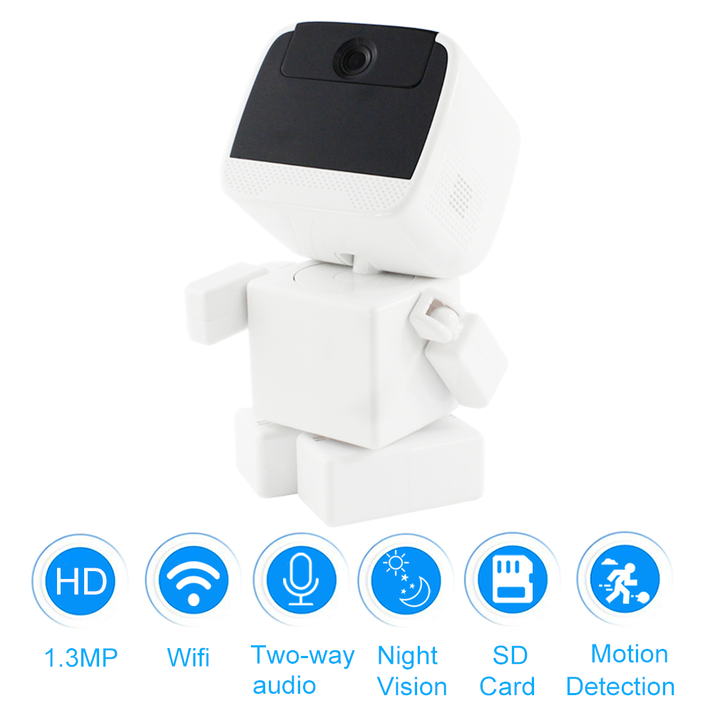 HD 960P Robot Camera Wifi Smart Security Clock Camera Wireless Baby Night Vision Monitor IP Camera Two Way Audio + TF Card Slot zilnk 720p wifi ip camera wireless smart home security two way audio hd night vision baby monitor support tf card onvif white