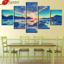 AtFipan Modular Picture Framed Wall Art Home Decor 5 Panel Sunset Sea View Living Room HD Printed Modern On Canvas Painting