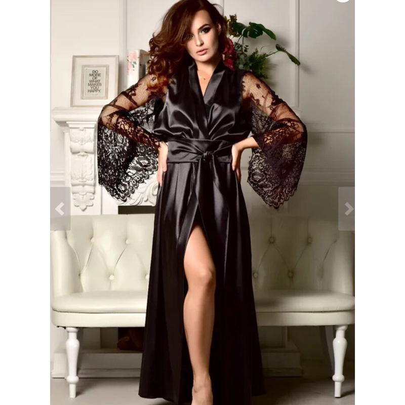 Women Sexy Lace Robe Silk Transparent Sleepwear Nightdress Kimono Stitching Long Dress Pajamas Babydoll Belt Bathrobe Home Wear