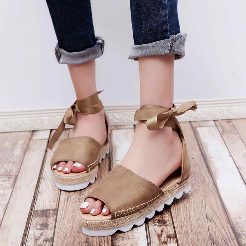7a5089d91 SAGACE Shoes Sandals Women Solid Flock Peep Toe Cross Tied Thick Bottom  Sandals Flatform Shoes sandals
