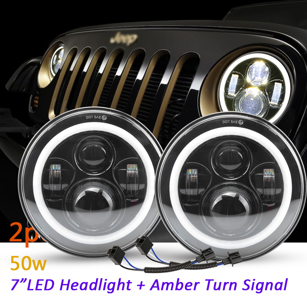 2Psc 7 Inch LED Headlight H4 H13 Hi-Lo With Halo Angel Eyes For Lada 4x4 urban Niva Jeep JK Land rover defender Hummer for jeep wrangler jk land rover defender hummer led headlamp 7 inch round headlight with halo angel eyes for lada 4x4 urban niva