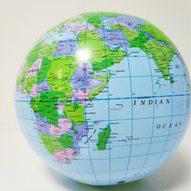 40CM Inflatable World Globe Teach Education Geography Toy Map Balloon Beach Ball Toy For Kids