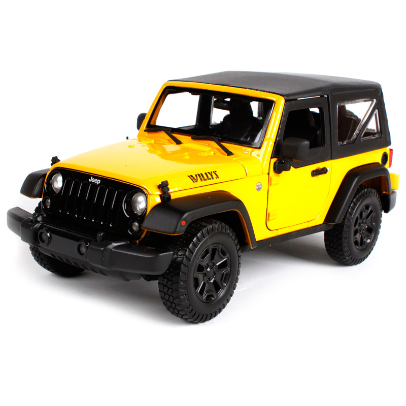Maisto 1:18 2014 jeep wrangler willys yellow red car diecast big car toy model for men collecting car model as gift 31676 willys jeep 1 10
