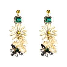 все цены на 2019 Luxury Gold Brand Design Flower Leaf Plant Rhinestone Acrylic Glod Drop Earrings For Women Boho Summer Jewelry Jhumka онлайн