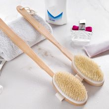 2 In 1 Shower Brush-Glove and Wooden Long Handle Natural Bri