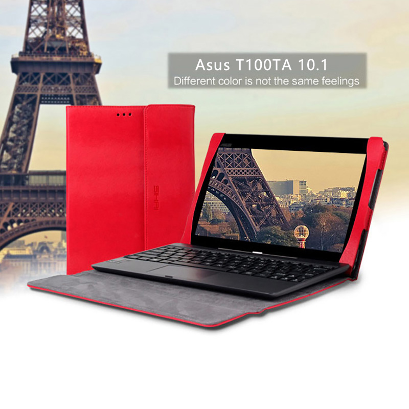 все цены на  Premium PU Leather Keyboard Portfolio Stand Tablet Cover Case For ASUS Transformer Book T100 T100T T100TA 10.1inch Laptop Case  онлайн