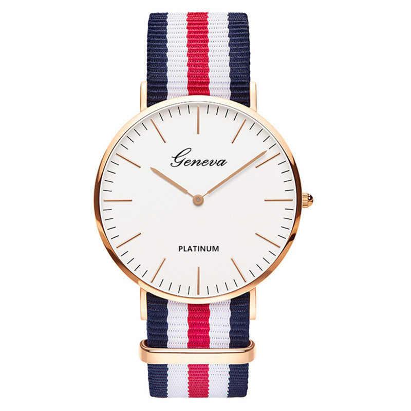 מכירה לוהטת ניילון רצועת סגנון קוורץ נשים שעון למעלה מותג שעונים אופנה מזדמן אופנה שעון יד Relojes
