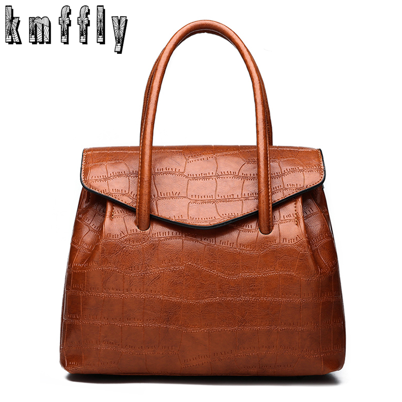Retro Oil Wax PU Leather Women Handbag Lady Alligator Hobos Bag Patchwork Shoulder Bags Women Large Capacity Sac A Main 2018 New
