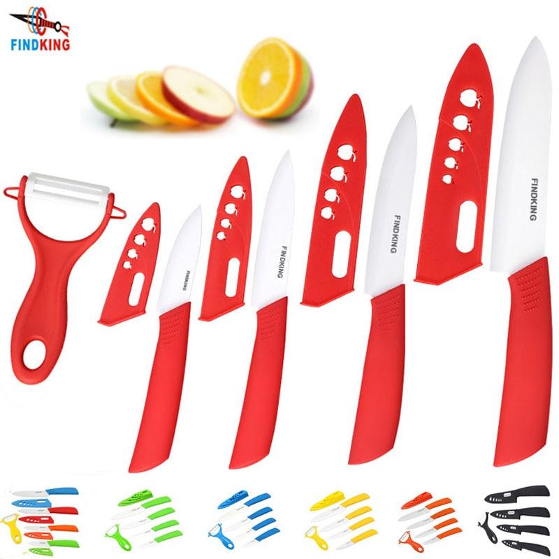 """Findking бренд Высокое качество красота подарки циркония кухонный нож комплект керамических ножей 3 """" 4 """" 5 """" 6 """" дюймов + овощечистка + обложки фрукты ножей"""