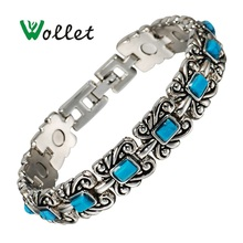 цена на Inox Women 18.5 Cm Tibetan Silver Jewelry Bio Magnetic Bracelet Vintage Turquoise Bracelet for Women(buy one send one)