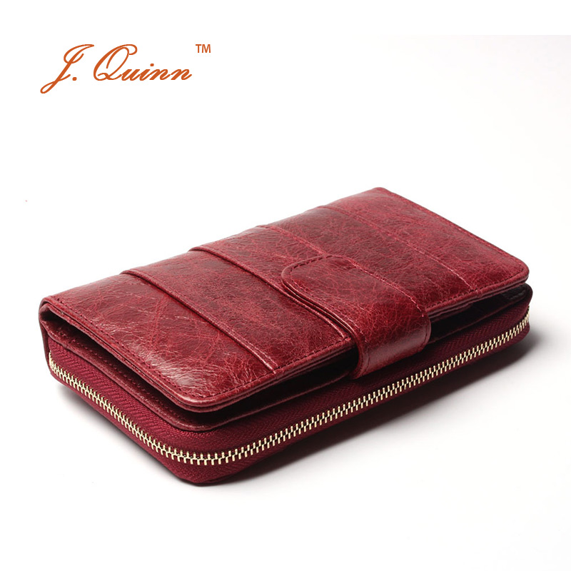 J.Quinn 2017 New European Red Cow Leather Zip Around Wallet for Women Genuine Oil Wax Soft Currency Organizer Hasp Card Wallets kenneth cole reaction womens napa zip around urban organizer wallet