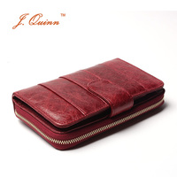 J.Quinn 2017 New European Red Cow Leather Zip Around Wallet for Women Genuine Oil Wax Soft Currency Organizer Hasp Card Wallets