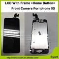 No AAA Calidad Original conjunto Completo LCD con marco de Hogar botón de la cámara de pantalla táctil lcd display asamblea digitizel para iphone 5S