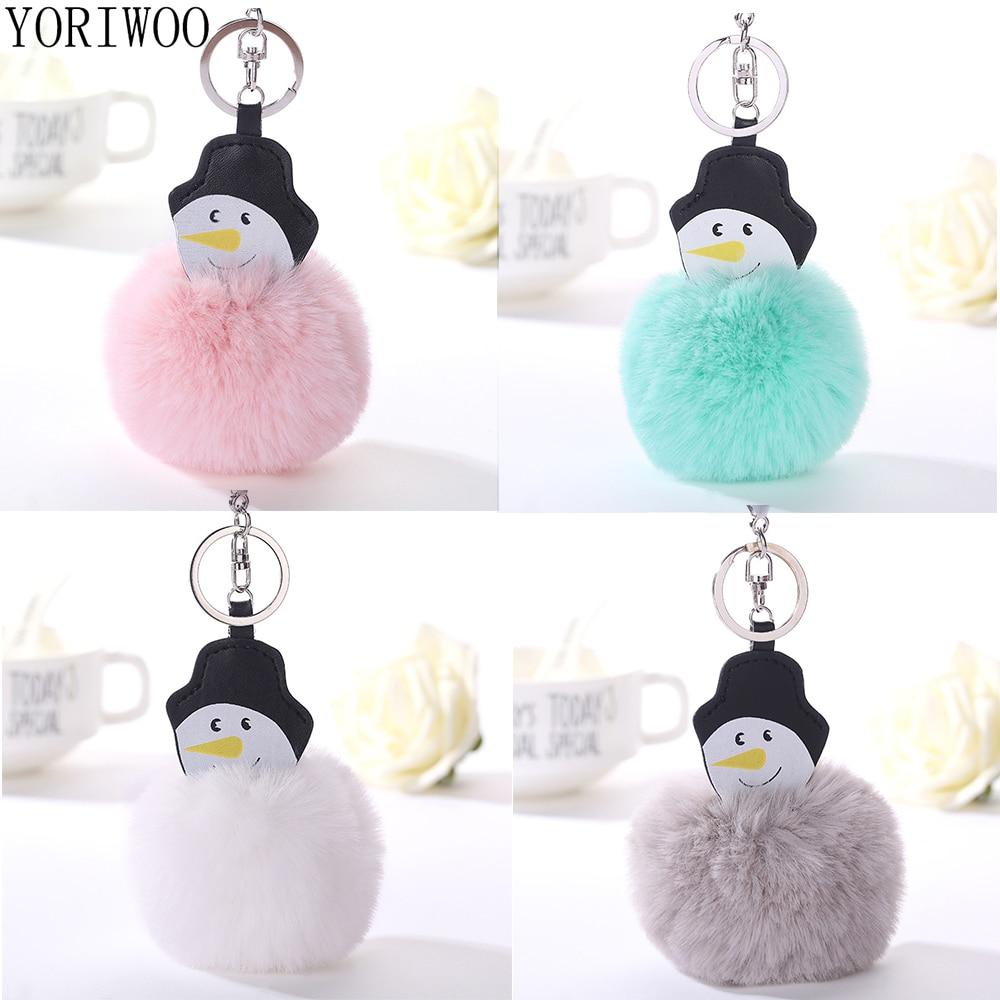 YORIWOO Snowman Tree Fur Pompom Keychain Leather Merry Christmas Decoration For Home Key Chain Women Keyrings Bag Charm New Year