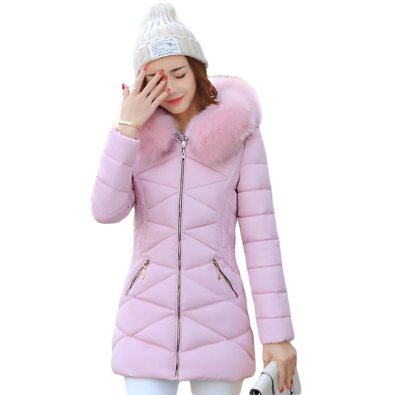New 2017 Winter Cotton Coat Women Slim Outwear Medium-long Padded Jacket Thick Fur Hooded Wadded Warm Parkas Winterjas CM1634 2017 women winter jacket new fashion cotton padded long hooded coat parkas female wadded outwear fur collar slim warm parkas