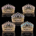 New Arrival Gorgeous Golden Queen Tiaras big crown Fashion Noble Clear crystal Round Diadem for Bride Wedding Hair accessories