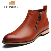 HEINRICH NEW Men Chelsea Boots Fashion Ankle Boots Leather Comfortable Casual Shoes Men Waterproof Man Boots Botas De Invierno