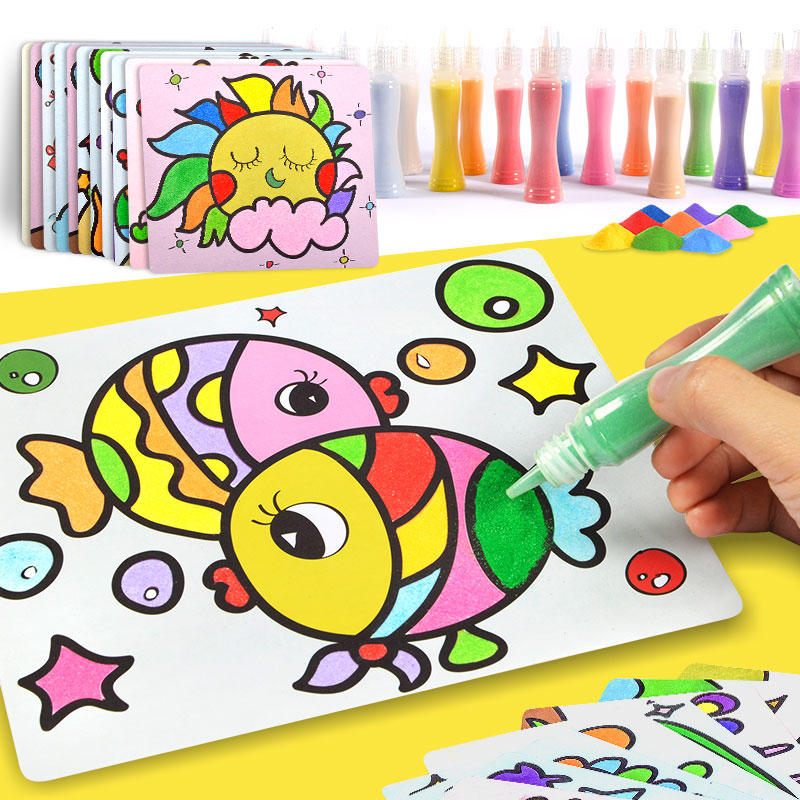 Sand painting children colorful sand boys and girls baby DIY handmade rocking sand sand suit puzzle toys