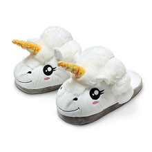 Winter Plush Unicorn Slippers Cute Funny Children's Slippers Home Shoes Warm Cotton Slippers Pantufas Zapatillas White Slippers
