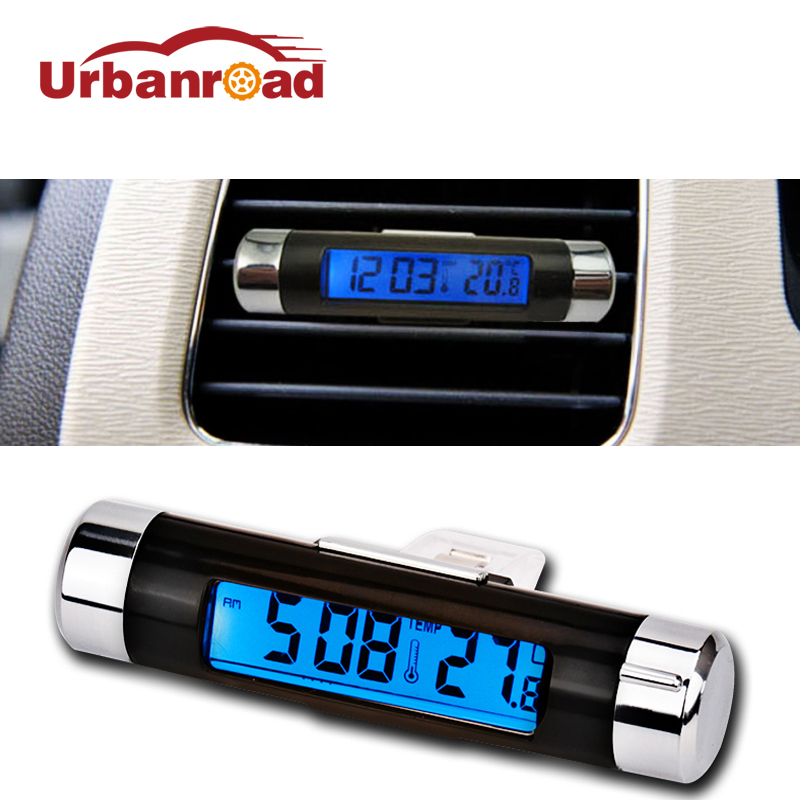 2 in 1 car thermometer clock auto backlight lcd digital clock thermometer car Air Vent Outlet portable with Clip Blue 1PC