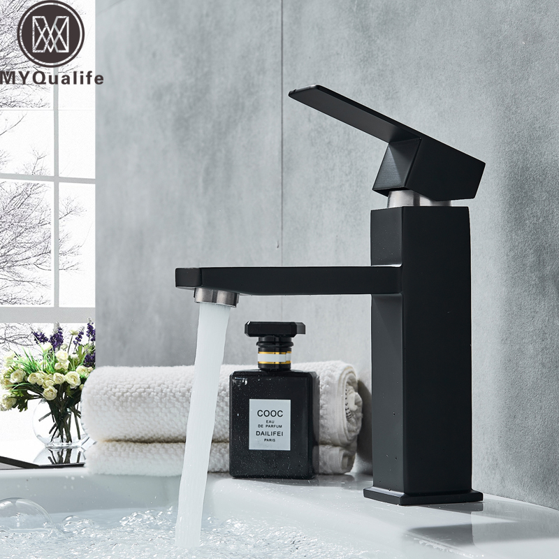 Black Deck Mounted Bathroom Basin Mixer Tap Square Single Handle Basin Vessel Sink Faucet Hot Cold Water Faucet for Basin waterfall basin faucet chrome single handle brass basin mixer tap bathroom deck mounted vessel sink hot cold water tap mixer
