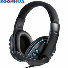Soonhua 3.5 Millimetri Wired Ergonomica Soft Pad Auricolare Gaming Headset Super Basso Della Cuffia Dei Bassi con Hd Microfono per PS4 Smartphone pc(China)