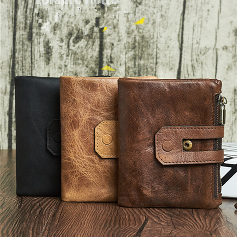 Male Credit&id Multifunctional Walets Wallet Men Leather Genuine Vintage Coin Purse Zipper&Hasp Small Perse Solid Card Holder