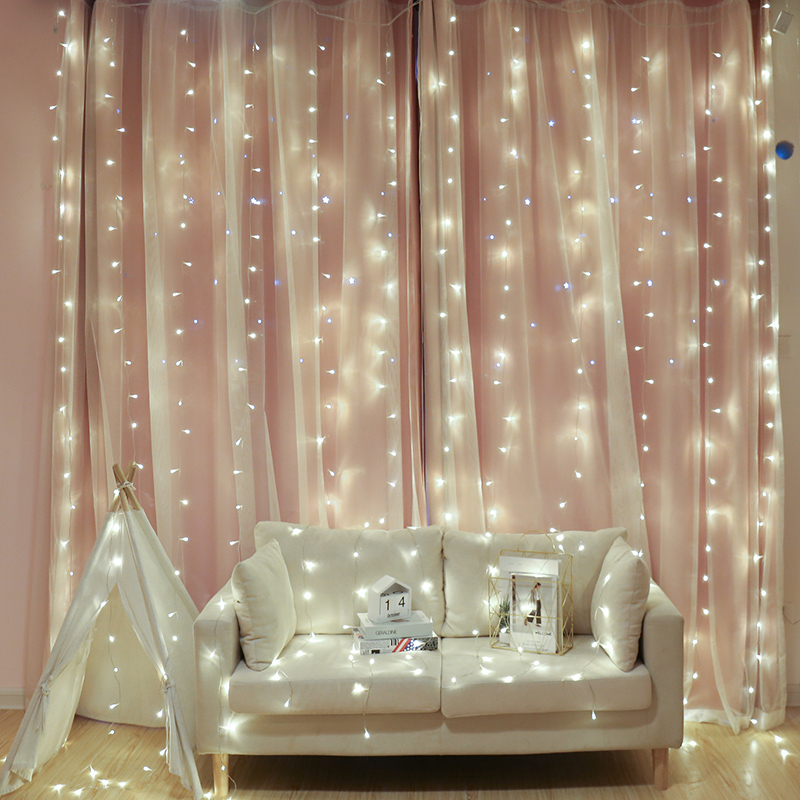 2M 200 LED Icicle Curtain String Light Indoor Festival Wedding Party Garden Plaza Window Outdoor Decoration Xmas LED Light