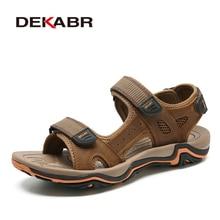 DEKABR Sandalias de cuero de vaca para Hombre, Zapatos informales transpirables de moda, para la playa, para verano