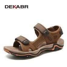 DEKABR الرجال الصنادل الصيف جلد البقر جديد ل الشاطئ الذكور الأحذية تنفس موضة حذاء رجالي كاجوال الصنادل Zapatos Hombre