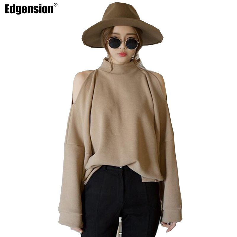 Edgension New 2017 Spring Fashion Turtleneck Off Shoulder Loose Sweatshirt Women European Style Funnel Neck Oversize Sweat Suits