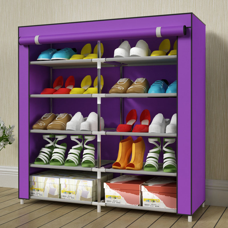 Simple stylish home double-row super-admission non-woven removable stainless steel free assembly multi-functional shoe cabinetSimple stylish home double-row super-admission non-woven removable stainless steel free assembly multi-functional shoe cabinet