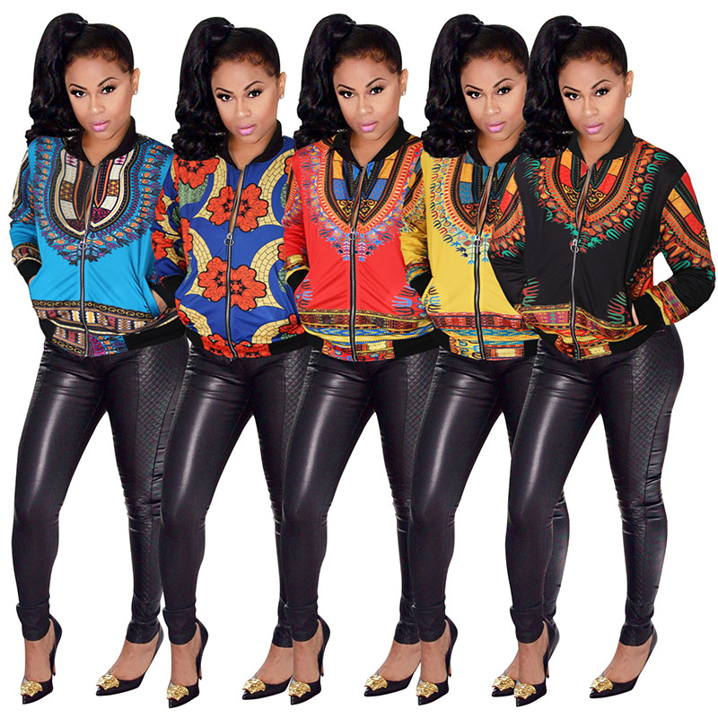 African Traditional Dashiki Print Bomber Jacket Coat For Women Tribal Ethnic Floral Sweatshirt Full Zip Clothes Ladies 4XL 5XL