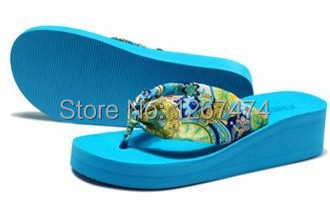 2014 Summer bohemia flower flip flops platform wedges women sandals slippers beach shoes - Good again franchise stores store