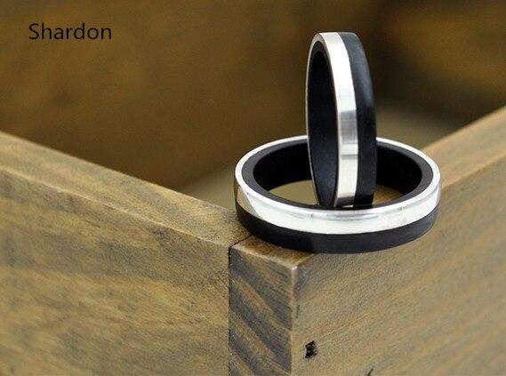 4mm unisexe pur argent incrusté ébène bois bande de mariage en bois noir Couple bague en argent