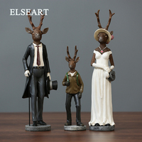 American style rural retro elk household ornaments deer family figurine for home deco wedding christmas gift