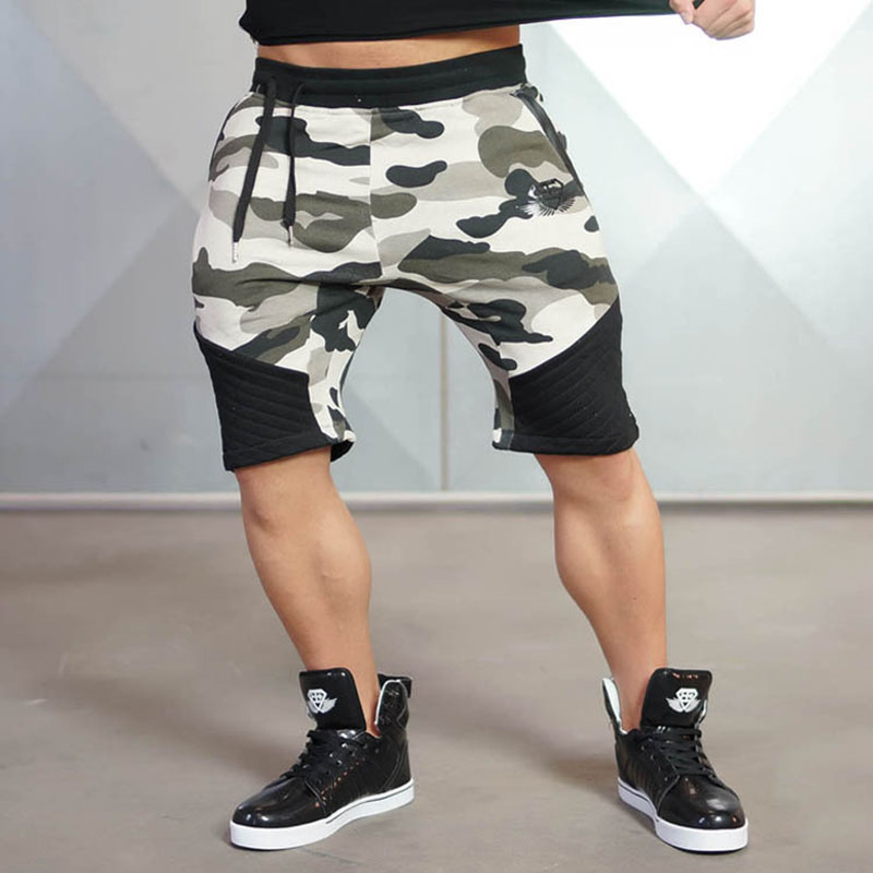 2018 Brand Cotton Shorts Men Summer Style Moletom Masculino Breathable Shorts Homme Gyms-Cothing Dark gray/black/camouflage