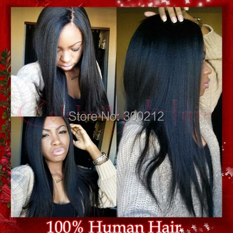 Yaki straight Brazilian Human Hair Full Lace Wigs With Baby Hair For Women Bleached Knots Full Lace Human Hair Wigs In Stock