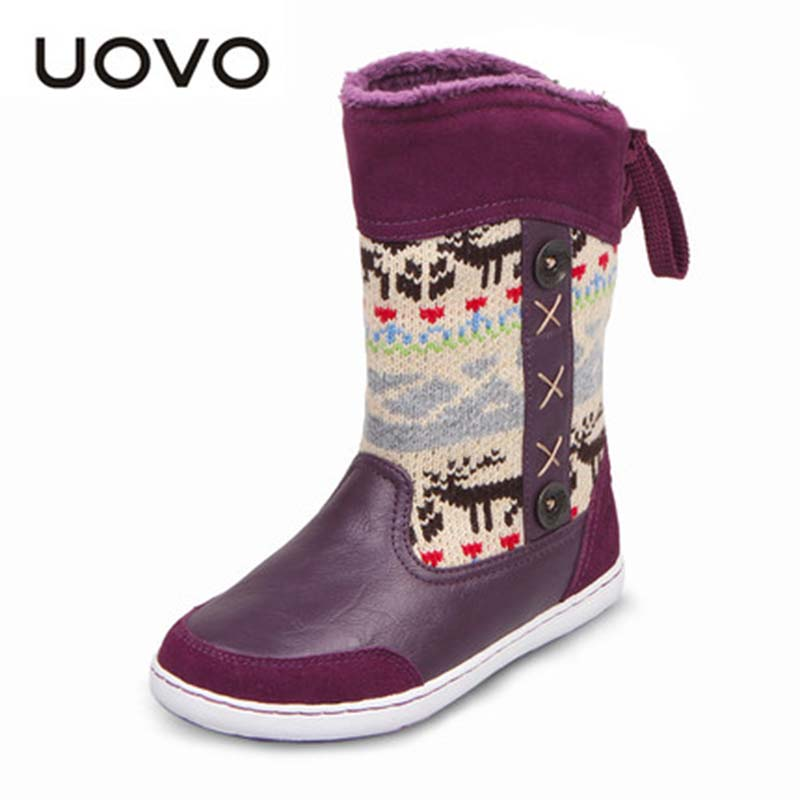 New Kids Winter Shoes Uovo Brand Flat Heel Girls Boots Leather Mid Calf National Style EU26
