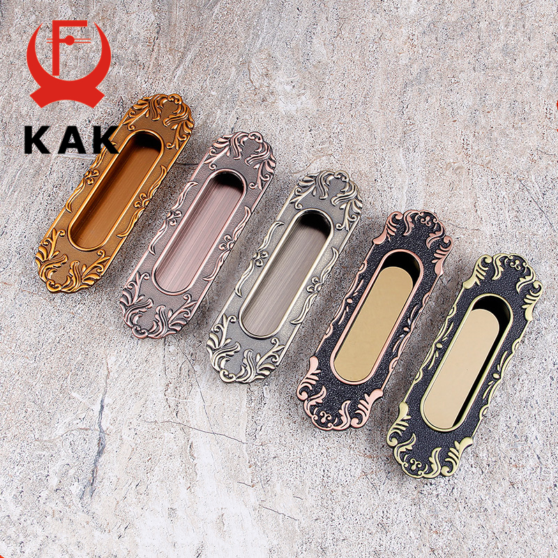 KAK Vintage Tatami Hidden Door Handles Zinc Alloy Recessed Flush Pull Cover Floor European Cabinet Handle Furniture Hardware