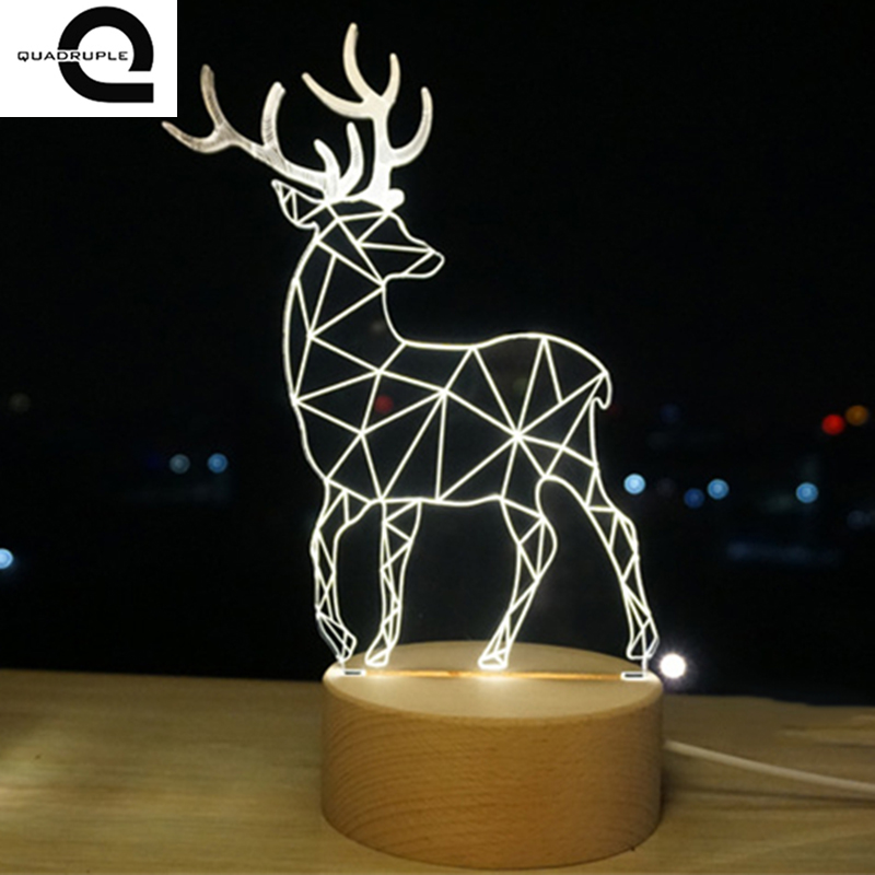 Quadruple 3D Deer Plastic Desk Lamp Table Lights Handcraft LED Night Light Bedroom Christmas Toy Gift USB Plug ...