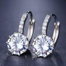 Новинка, простые круглые серьги-кольца с кубическим цирконием, роскошные для женщин, круглые Разноцветные серьги с петлей, популярные модные ювелирные изделия