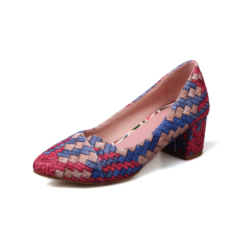 Square heel mixed color shoes Slip-On Pointed Toe Spring/Autumn women shoes pumps Braided shoes womens slingback high heels  2017 women lady shoes flat heel spring autumn boat pointed toe slip on casual simple mixed color pink yellow blue black red